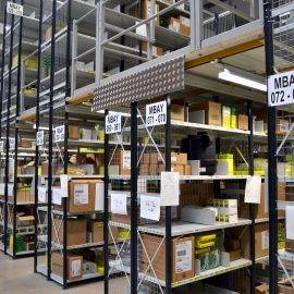 Image shows goods stored on two tier Euro shelving