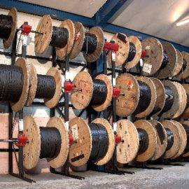 Cable reels stored on coil racking