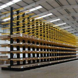 Image of a warehouse with a cantilever racking system in place