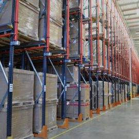 Photo of drive-in racking with goods stored on pallets