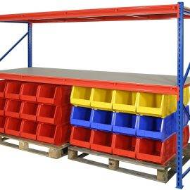 Image of plastic storage containers in a longspan shelving unit