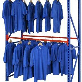 Image of clothes hanging on a longspan garment rack