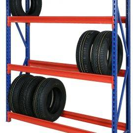 Metal shelving to store tyres