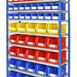 Image of plastic storage bins on a rack
