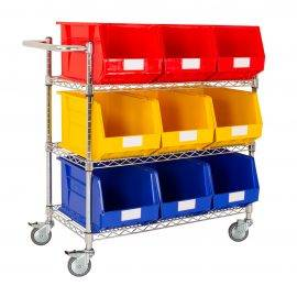 Image shows plastic storage bins on a metal trolley