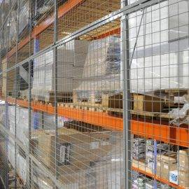 Image of anti-collapse mesh installed on a large racking unit