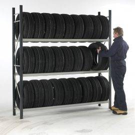 Image of car tyres stacked on a shelving unit